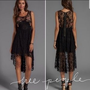 FREE PEOPLE | BE A ROSE in BLACK LACE Hi Low Dress